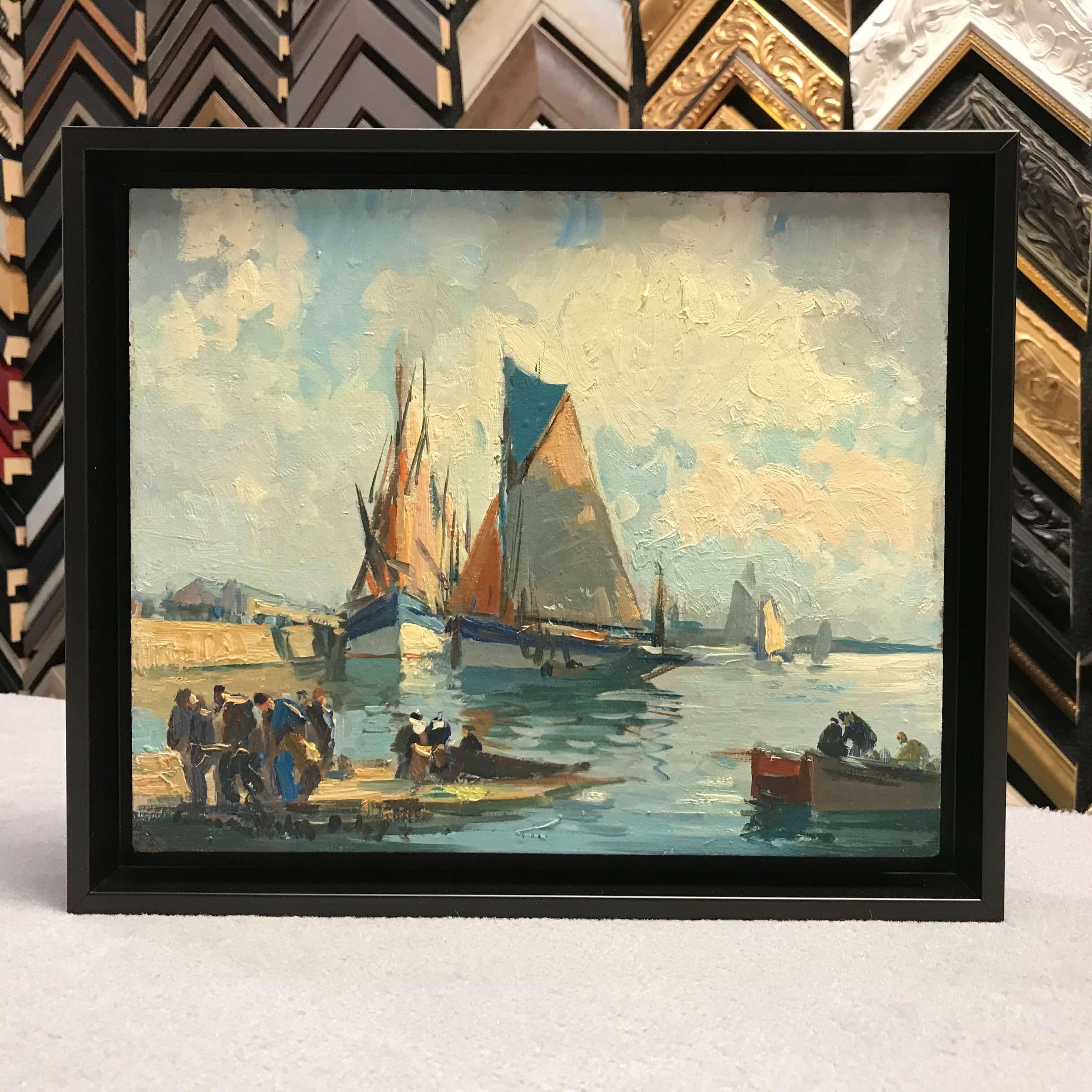 Peinture bois réhaussée dans caisse américaine