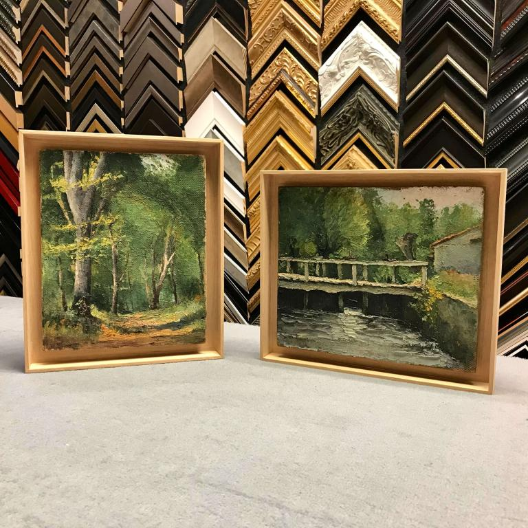 Peintures bois réhaussées dans caisse américaine